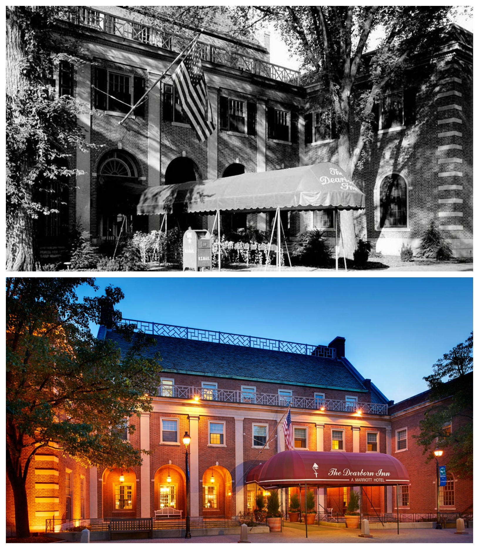 Compare the Dearborn Inn before and present